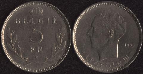 Бельгия 5 франков 1936 (фламандский)