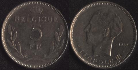 Бельгия 5 франков 1937 французский