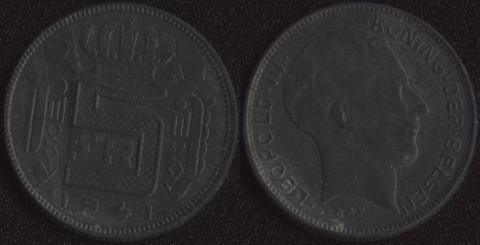 Бельгия 5 франков 1941 фламандский