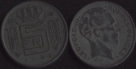 Бельгия 5 франков 1941 французский