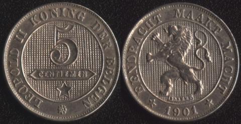 Бельгия 5 сантим 1901 (фламандский)