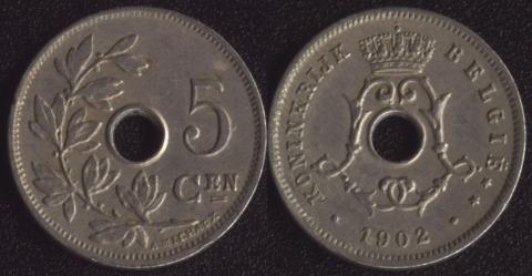 Бельгия 5 сантим 1902 (фламандский)