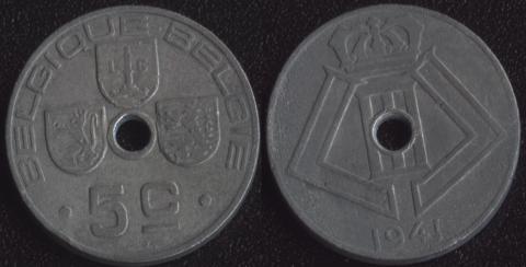 Бельгия 5 сантим 1941 французский