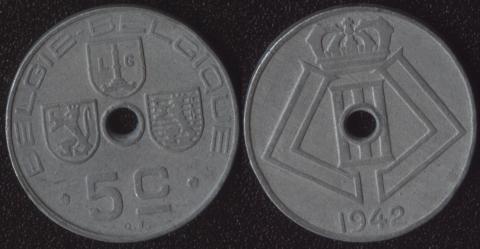 Бельгия 5 сантим 1942 фламандский