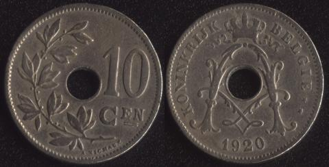 Бельгия 10 сантим 1920 фламандский