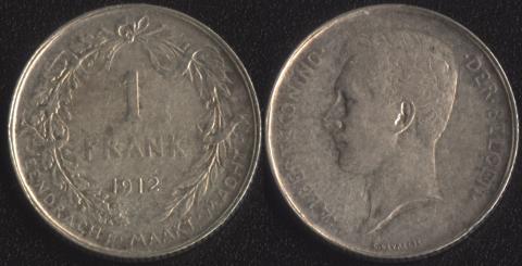 Бельгия 1 франк 1912 фламандский