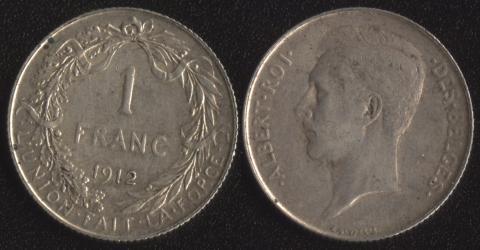 Бельгия 1 франк 1912 французский