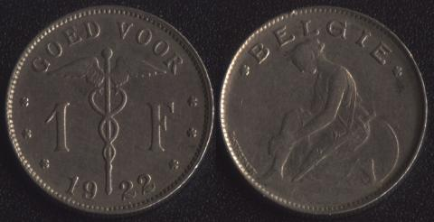 Бельгия 1 франк 1922 фламандский