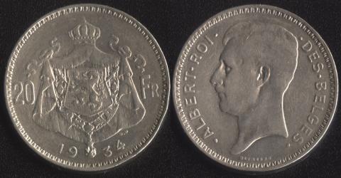 Бельгия 20 франков 1934 французский