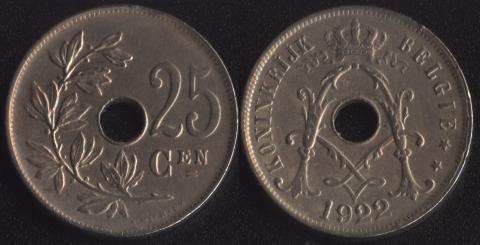 Бельгия 25 сантим 1922 фламандский