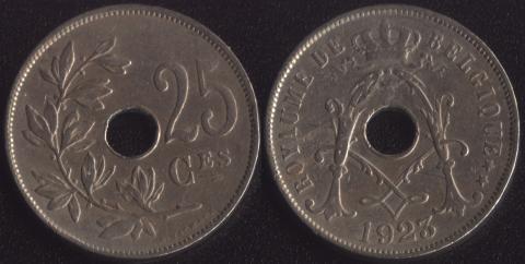 Бельгия 25 сантим 1923 французский