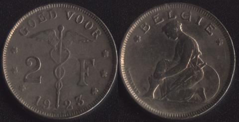 Бельгия 2 франка 1923 фламандский