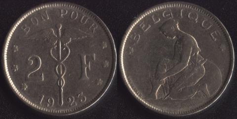 Бельгия 2 франка 1923 французский