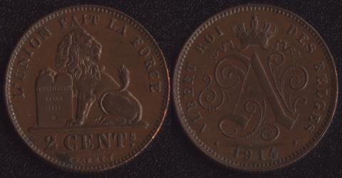 Бельгия 2 сантима 1914 французский