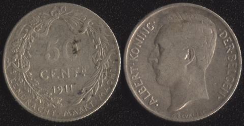 Бельгия 50 сантим 1911 фламандский
