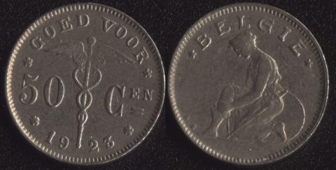 Бельгия 50 сантим 1923 фламандский