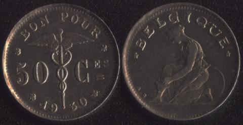 Бельгия 50 сантим 1930 французский