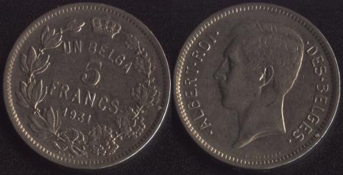 Бельгия 5 франков 1931 французский