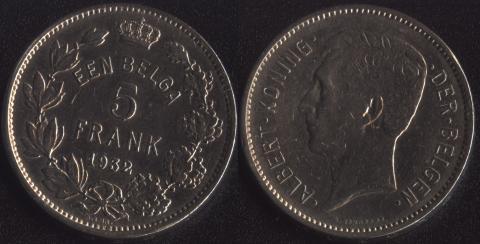 Бельгия 5 франков 1932 фламандский