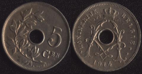 Бельгия 5 сантим 1914 фламандский