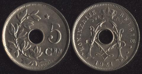 Бельгия 5 сантим 1931 фламандский