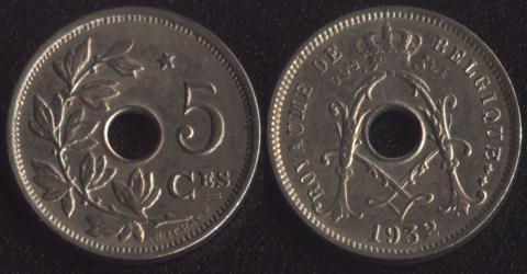 Бельгия 5 сантим 1932 французский