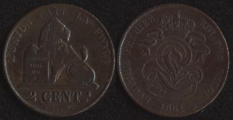Бельгия 2 сантим 1861