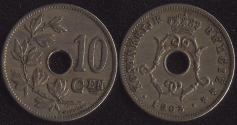 Бельгия 10 сантим 1903 фламандский