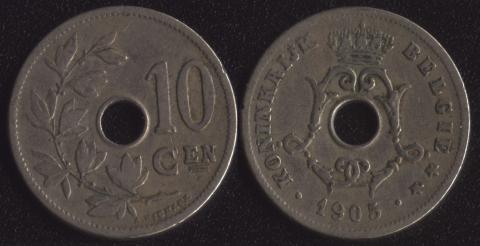 Бельгия 10 сантим 1905 фламандский