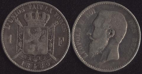Бельгия 1 франк 1886 французский