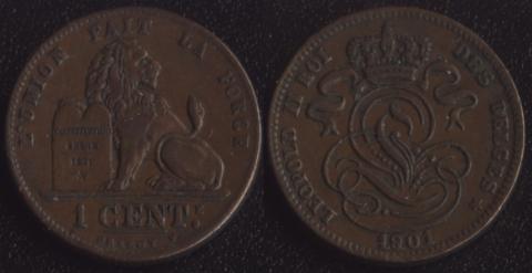 Бельгия 1 сантим 1901 французский