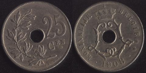 Бельгия 25 сантим 1908 фламандский