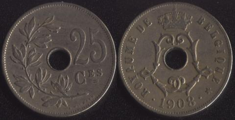 Бельгия 25 сантим 1908 французский