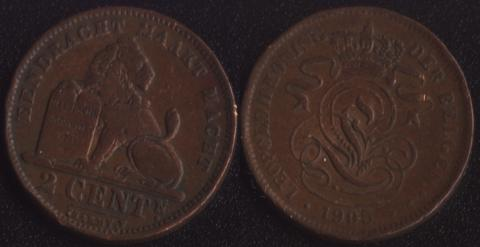 Бельгия 2 сантима 1905 фламандский