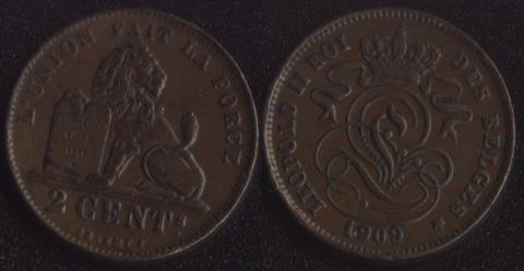 Бельгия 2 сантим 1909 французский