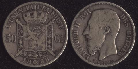 Бельгия 50 сантим 1898 французский