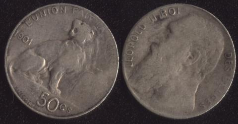 Бельгия 50 сантим 1901 французский