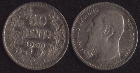 Бельгия 50 сантим 1909 фламандский
