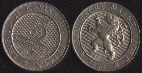 Бельгия 5 сантим 1895 фламандский