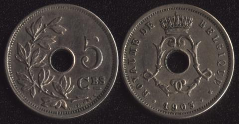 Бельгия 5 сантим 1903 французский