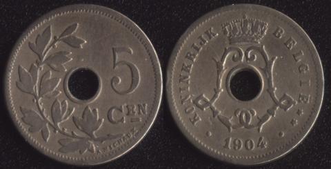 Бельгия 5 сантим 1904 фламандский