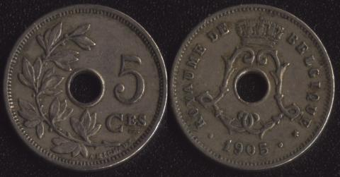 Бельгия 5 сантим 1905 французский