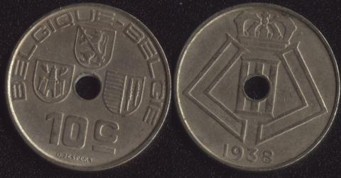 Бельгия 10 сантим 1938 французский