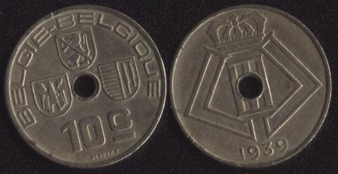 Бельгия 10 сантим 1939 фламандский