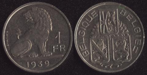 Бельгия 1 франк 1939 французский