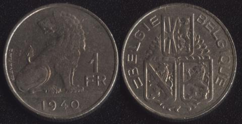 Бельгия 1 франк 1939 фламандский