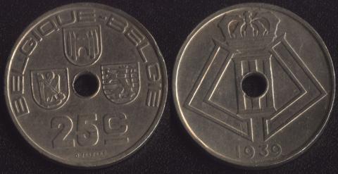 Бельгия 25 сантим 1939 французский