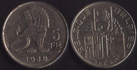 Бельгия 5 франков 1938 французский