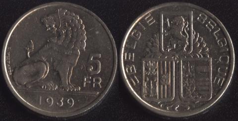 Бельгия 5 франков 1939 фламандский