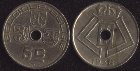 Бельгия 5 сантим 1938 французский